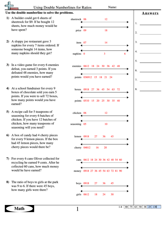 Using Double Numberlines For Ratios Worksheet