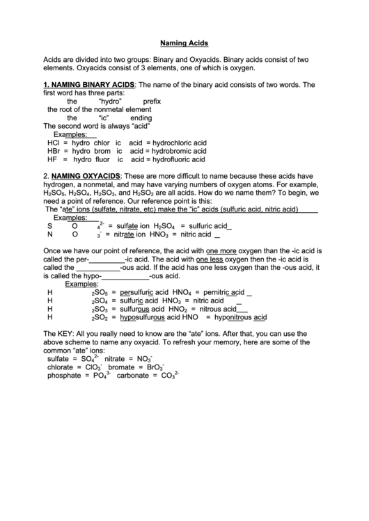 naming acids worksheet printable pdf download
