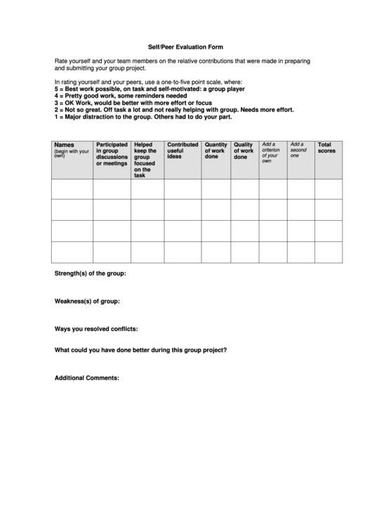 Self Peer Evaluation Form Printable Pdf Download