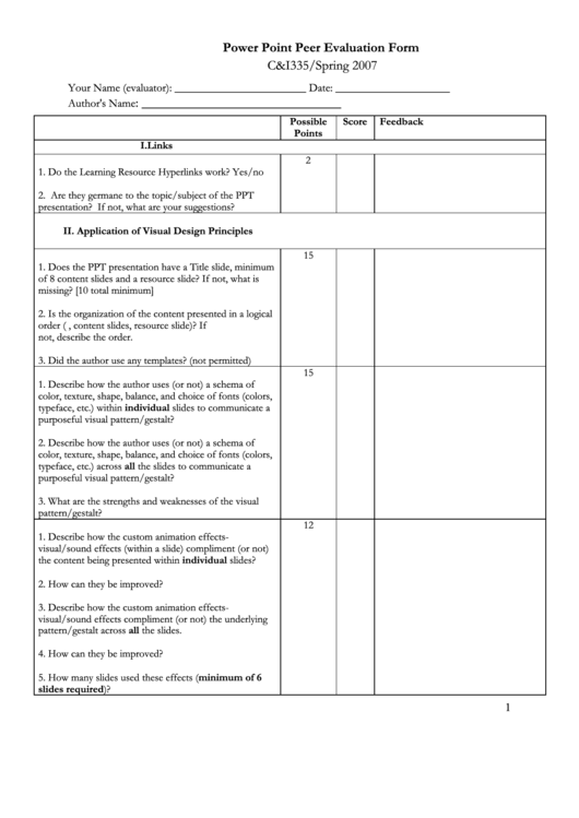 Power Point Peer Evaluation Form
