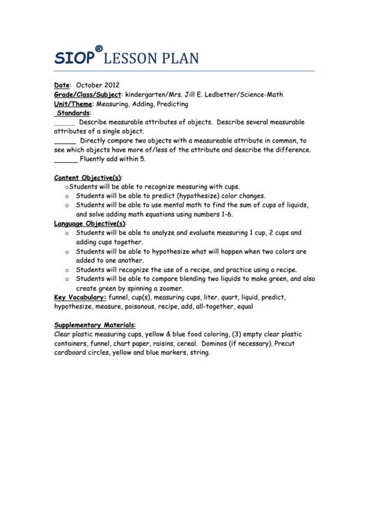 Sample Siop Lesson Plan - Measuring/adding/predicting printable pdf