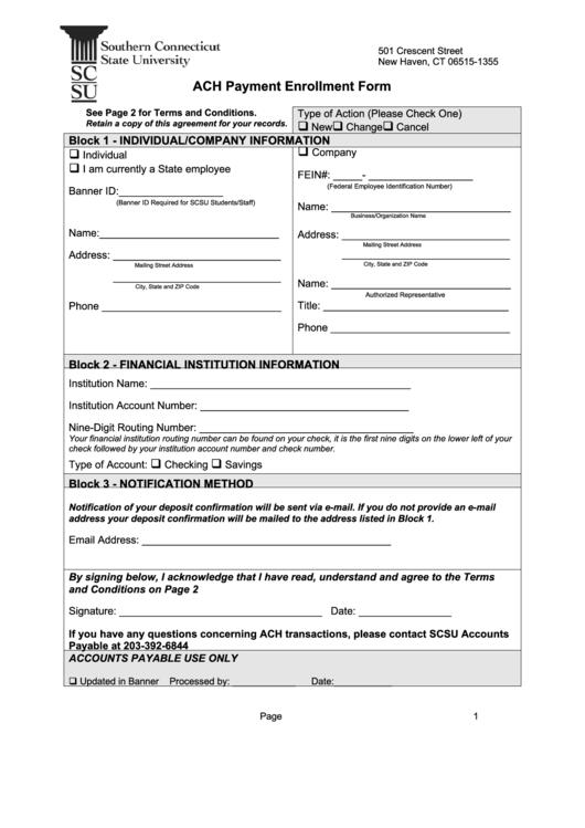 ach payment enrollment form printable pdf download