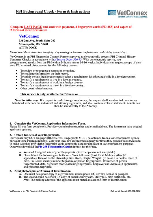 fbi background check  form  instructions printable pdf