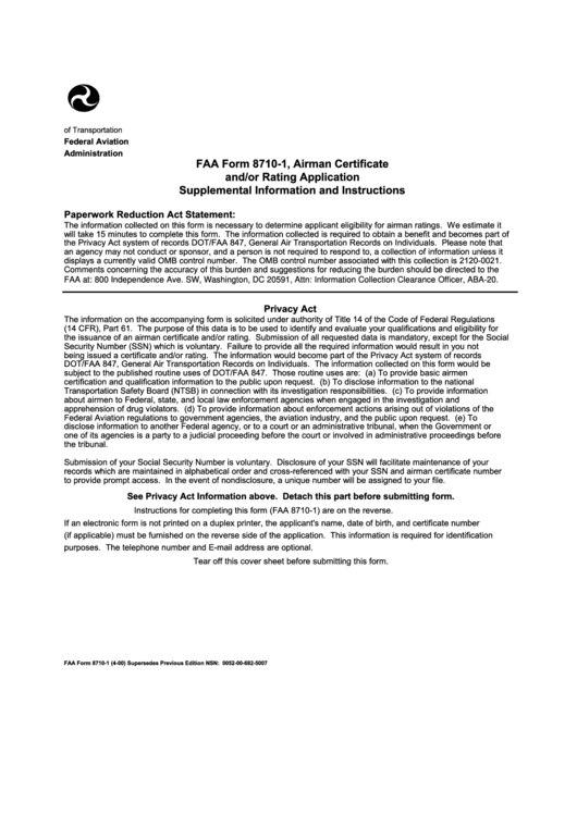 Faa Form 8710 1 Airman Certificate And Or Rating Application