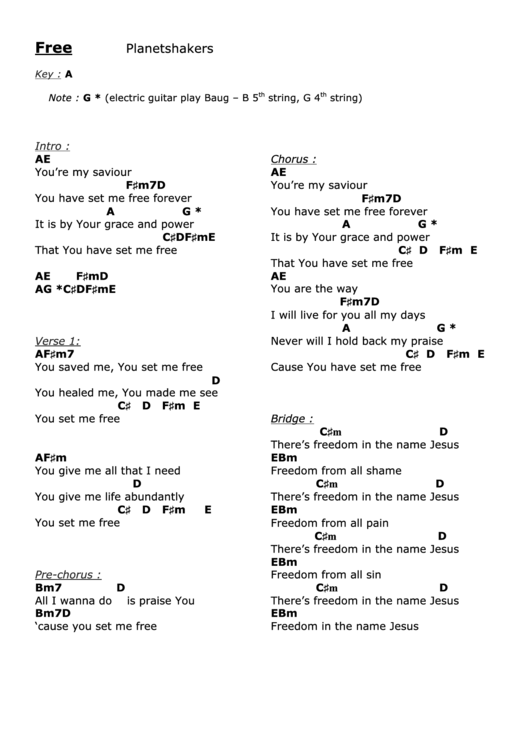 Free (chords Chart - Key: A) Planetshakers