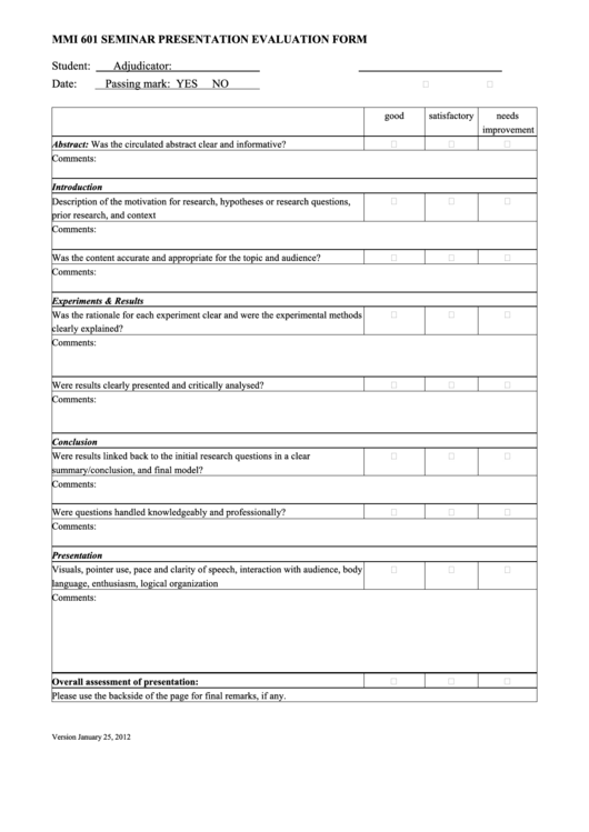 31 Presentation Evaluation Form Templates free to download in PDF