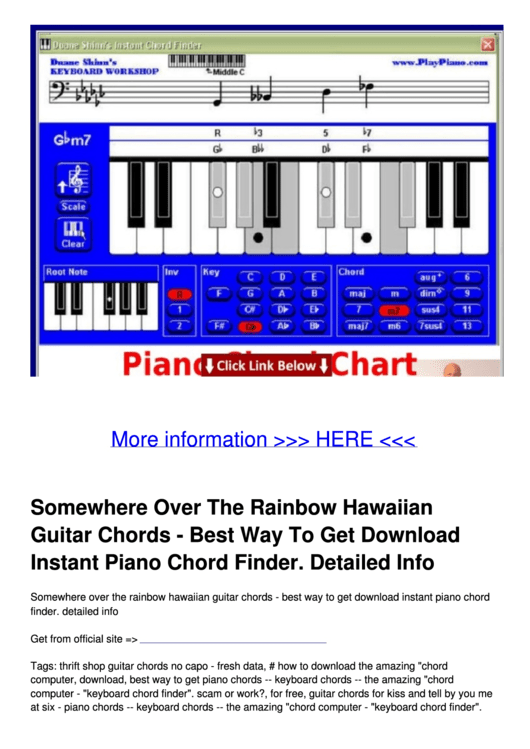Somewhere Over The Rainbow Hawaiian Guitar Chords Printable Pdf Download