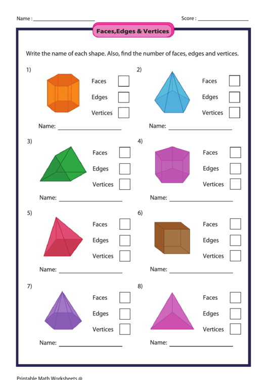 Facesedges Vertices Worksheet Printable Pdf: Faces Edges And Vertices Worksheet At Alzheimers-prions.com