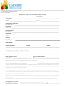Medical Care Authorization Form - Calvary Child Care Hawaii
