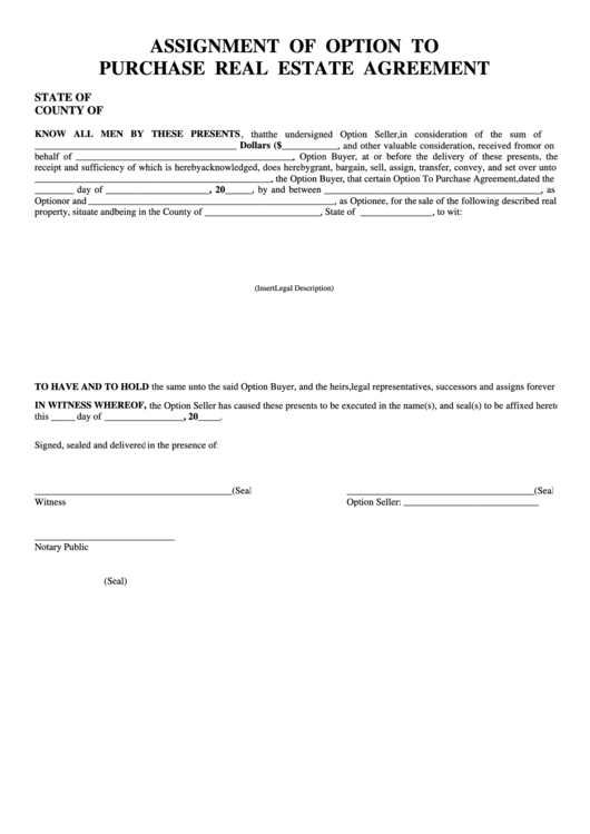 Assignment Of Option To Purchase Real Estate Agreement