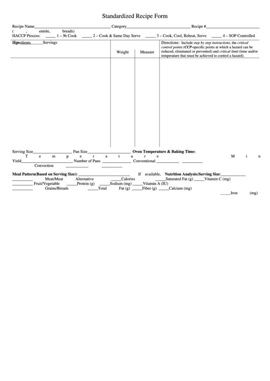 Standardized Recipe Form Haccp