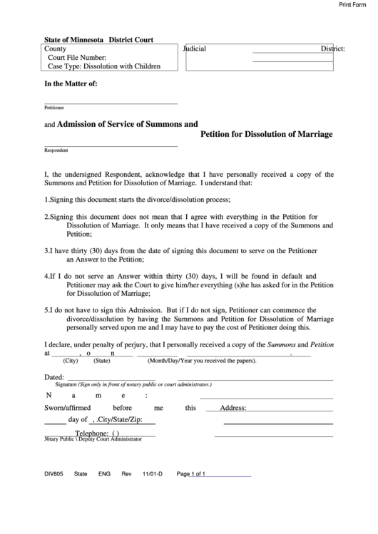Fillable Admission Of Service Of Summons And Petition For Dissolution Of Marriage Printable pdf