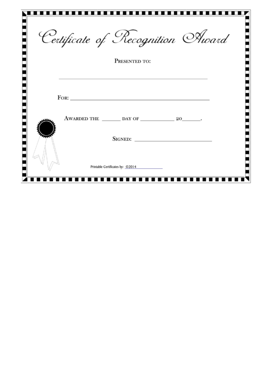 Printable Certificate Of Recognition Template - Hoover Web Design ...