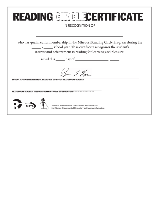 Reading Circle Certificates