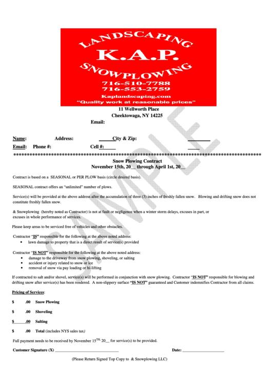 Sample Contract Template Printable pdf