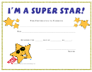 I'm A Super Star Award Certificate Template