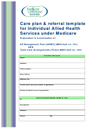 Care Plan & Referral Template For Individual Allied Health Services Under Medicare