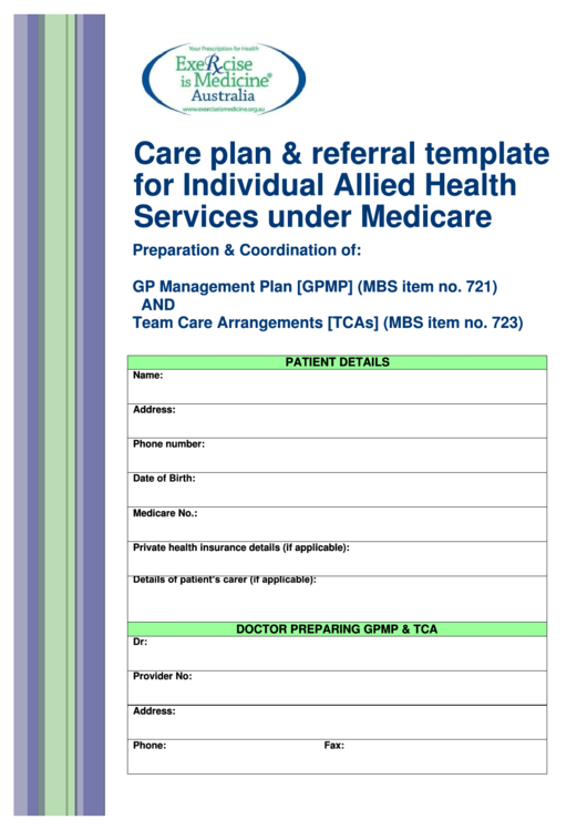 Care Plan & Referral Template For Individual Allied Health ...