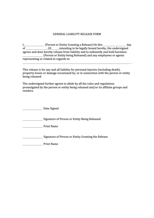 General Liability Release Form  General Liability Release Form Template