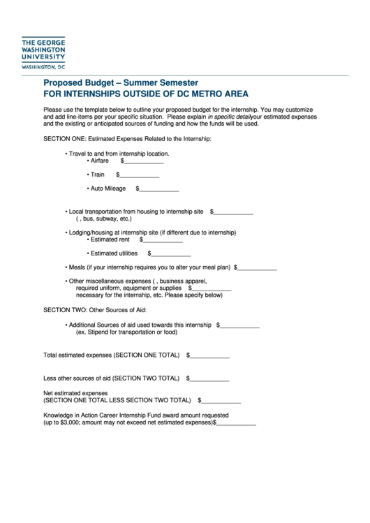 Proposed Budget - Summer Semester For Internships Outside Of Dc Metro Area Printable pdf