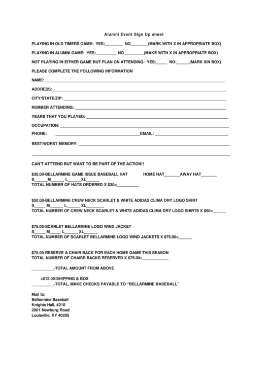 alumni event sign up sheet template printable pdf download