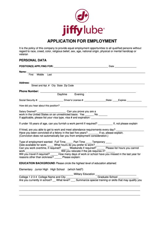 Application For Employment - Jiffy Lube Printable pdf