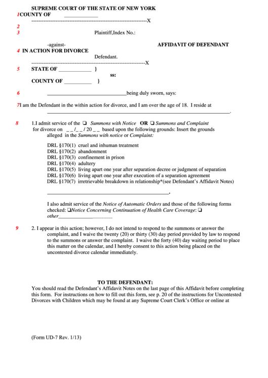 Affidavit Of Defendant In Action For Divorce