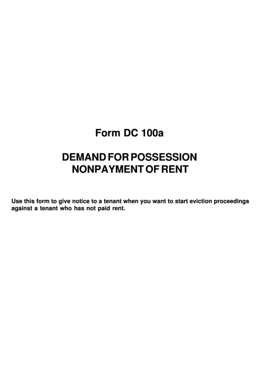 Demand For Possession Nonpayment Of Rent