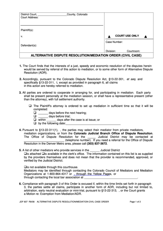 Alternative Dispute Resolution/mediation Order Printable pdf