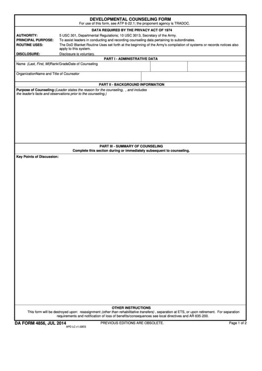 Da Form 4856 - Developmental Counseling Form - 2014