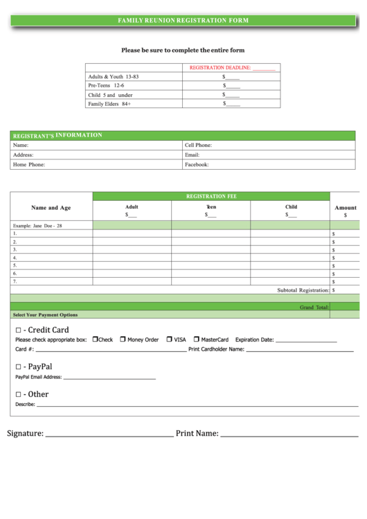 Fillable Family Reunion Registration Form Printable pdf