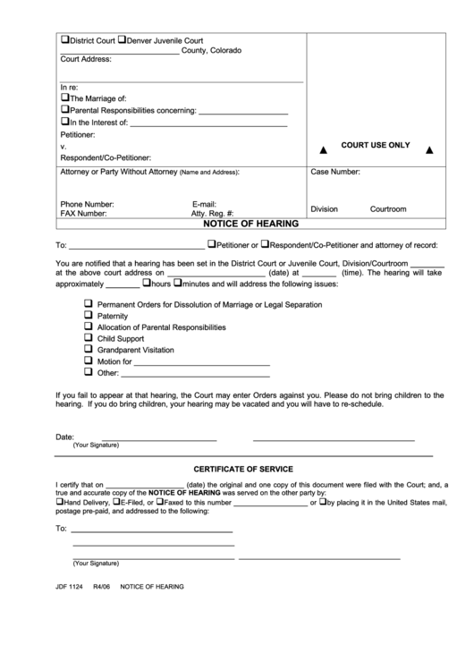 Fillable Notice Of Hearing Form Printable Pdf Download