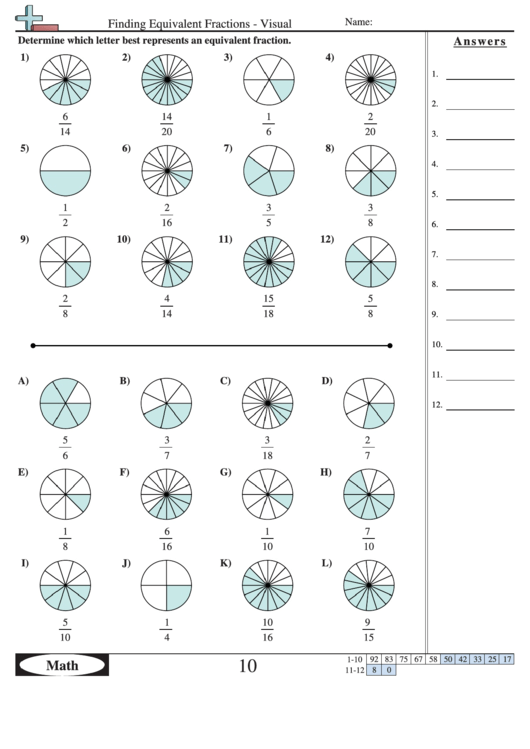 Equivalent fractions worksheet with answer key