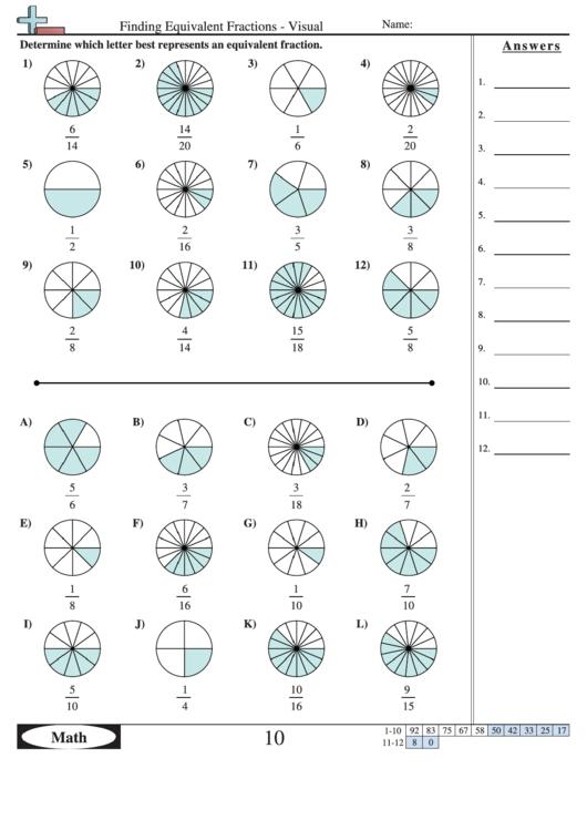 finding equivalent fractions visual worksheet with answer key printable pdf download. Black Bedroom Furniture Sets. Home Design Ideas