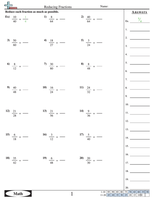 Reducing Fractions Worksheet With Answer Key printable pdf ...