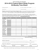 Federal Work Study Program Bi-weekly Time Sheet - Suny Poly