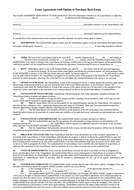 Top Residential Lease Agreement With Option To Purchase Free