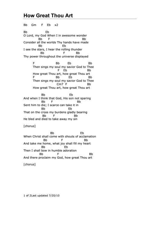 How Great Thou Art Chords Stuartkklineandeugenethomas Printable