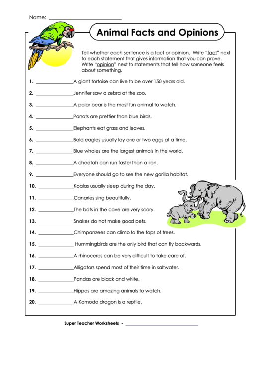 Animal Facts And Opinions Worksheet With Answer Key ...