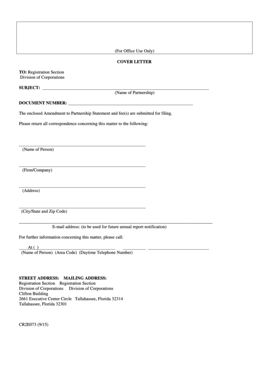 Form Cr2e073 - Amendment To Partnership Statement With Cover Letter - 2015 Printable pdf