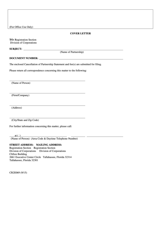 Fillable Form Cr2e069 - Cancellation Of Partnership Statement With Cover Letter - 2015 Printable pdf
