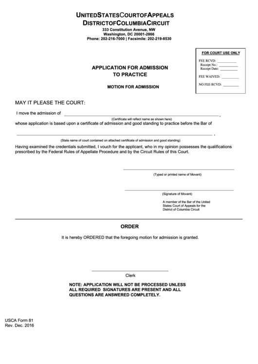 Application For Admission To Practice