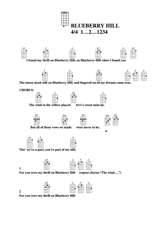 Blueberry Hill Chord Chart Printable Pdf Download