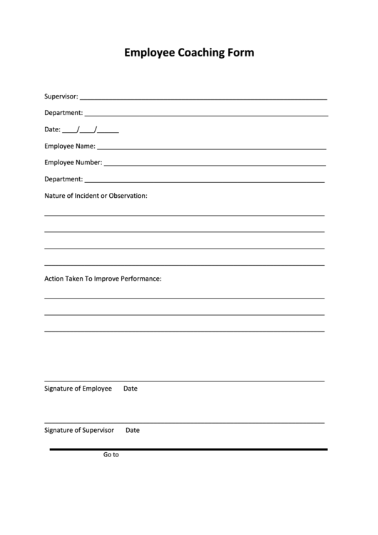 Employee Coaching Form printable pdf download