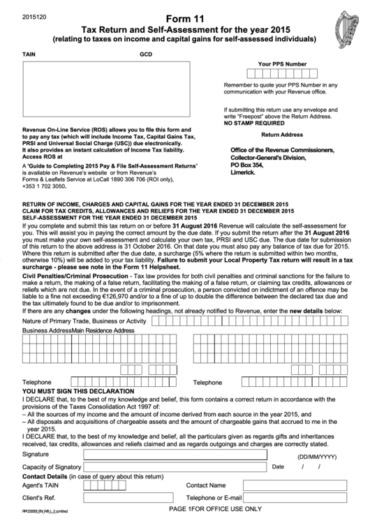 Tax Return And Self Assessment For The Year 2015 Printable pdf