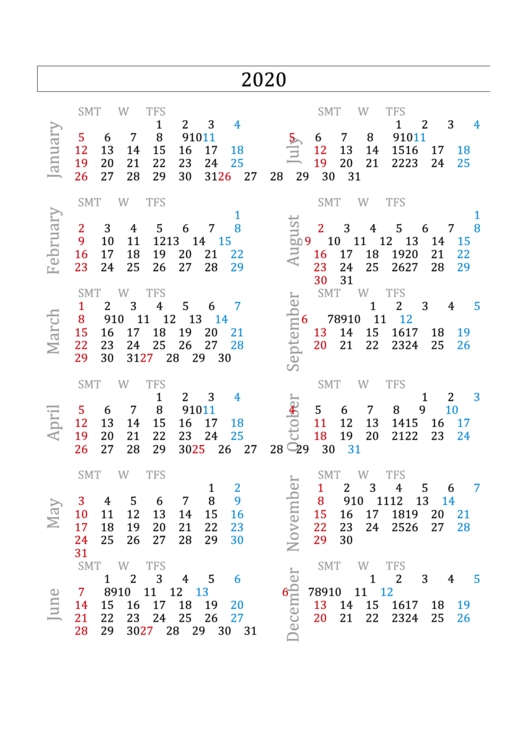 2020 calendar template printable pdf download