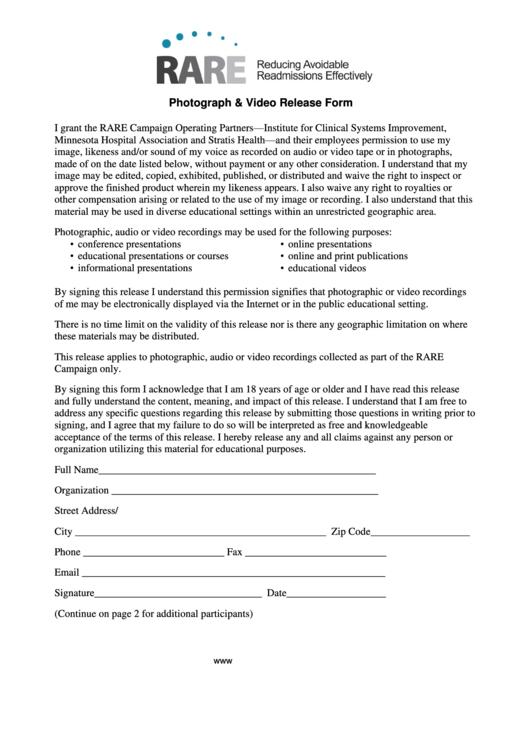 Rare Campaign Photograph & Video Release Form