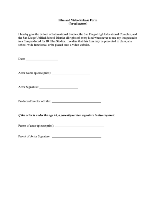 Film And Video Release Form