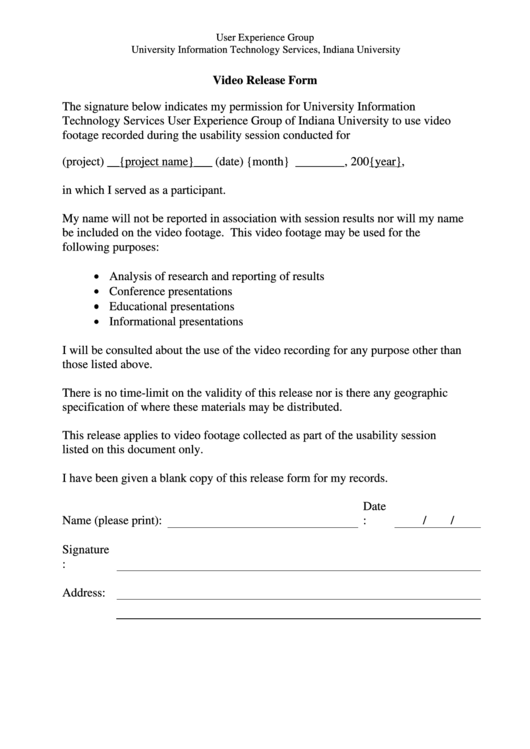 Video Release Form Printable pdf