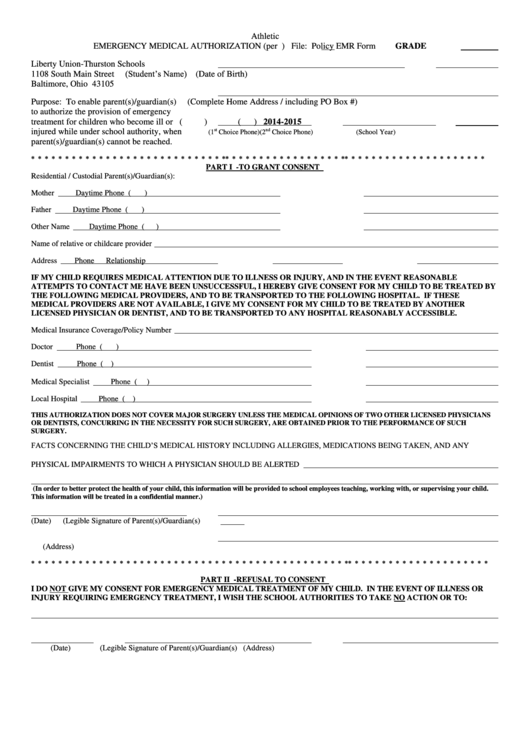 Athletic Emergency Medical Authorization Form Printable pdf